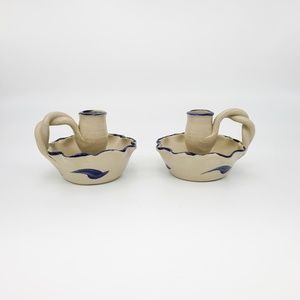 Two WILLIAMSBURG POTTERY Blue Candle Holders, Farm